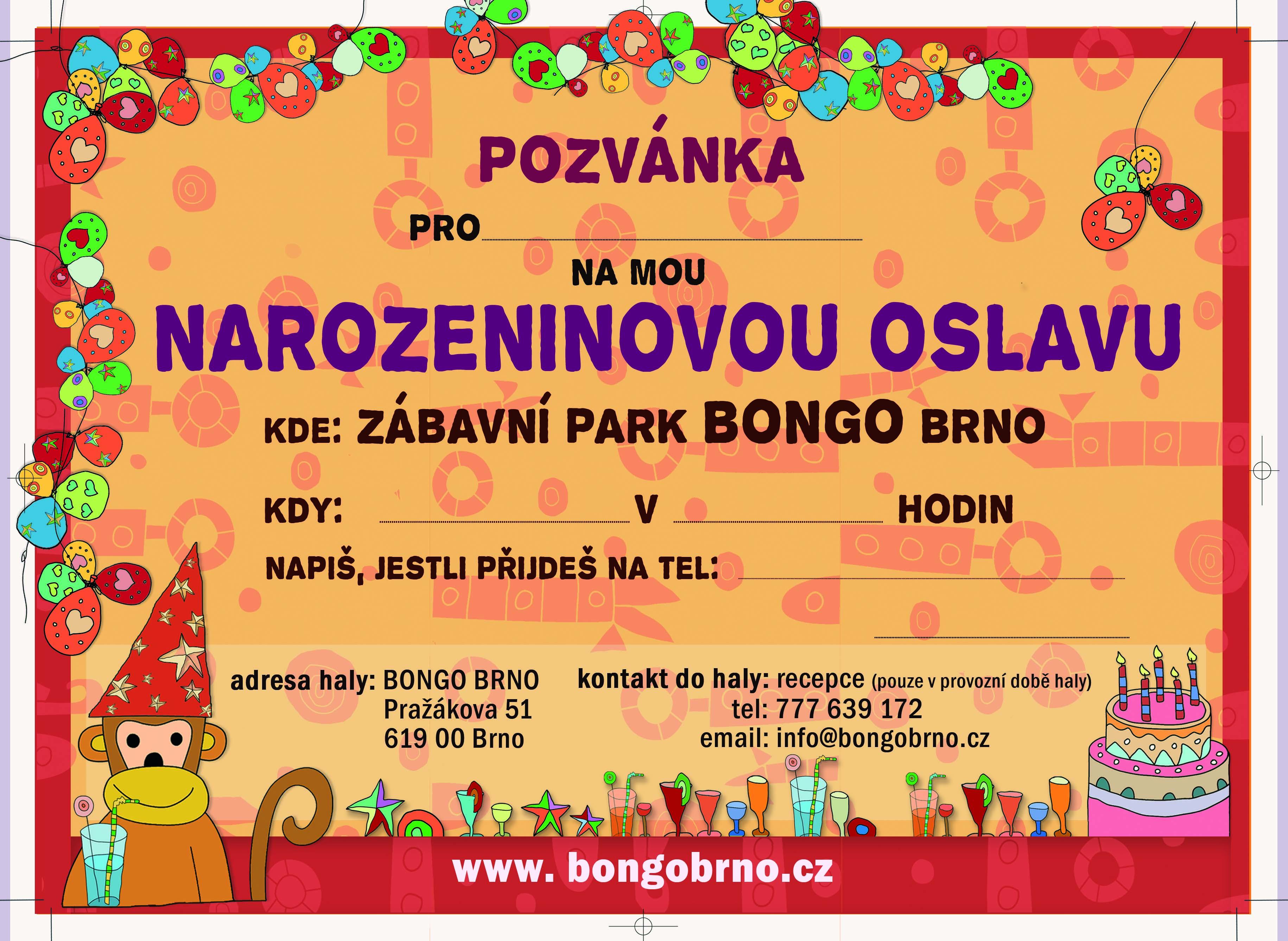 pozvánka na dětské narozeniny Oslavy narozenin   TOBOGA Bongo Brno pozvánka na dětské narozeniny