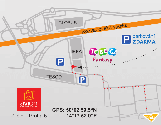 Map to Toboga Fantasy Prague