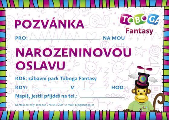 dětská pozvánka na narozeniny ke stažení Oslavy narozenin   TOBOGA Fantasy Praha dětská pozvánka na narozeniny ke stažení
